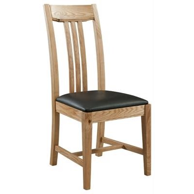 Oak Slat Back - Faux Leather Seat